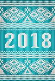 Feliz Natal e 2018 anos novo feliz, bandeira feita malha Fotografia de Stock