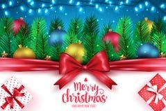 Feliz Natal e bandeira criativa da tipografia do cumprimento do ano novo feliz ilustração royalty free