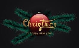 Feliz Natal e bandeira do ano novo feliz ilustração do vetor