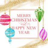 Feliz Natal e cartão do ano novo feliz ilustração stock