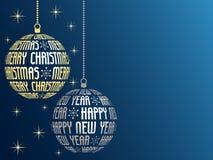 Feliz Natal e cartão do ano novo feliz Fotos de Stock Royalty Free