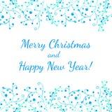 Feliz Natal e cartão do ano novo feliz Imagens de Stock Royalty Free