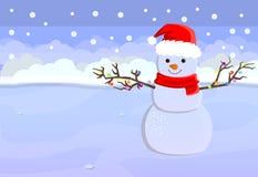 Feliz Natal e cartão do ano novo feliz com espaço para seu texto Boneco de neve bonito no chapéu de Santa Claus que está no inver Foto de Stock