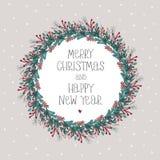 Feliz Natal e cartão do vetor do ano novo feliz ilustração stock