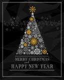 Feliz Natal e cartão do vetor do ano novo feliz Fotografia de Stock Royalty Free
