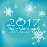 Feliz Natal e decorações do cartão do ano novo feliz Fundos azuis ilustração stock