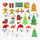 Feliz Natal e elementos do partido da cabine da foto do ano novo feliz com vidros, suportes e chifres ilustração stock