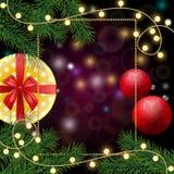 Feliz Natal e fundo feliz do ano 2018 novo com quadro, Imagem de Stock