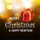 Feliz Natal e fundo do artigo do presente do ano novo feliz ilustração do vetor