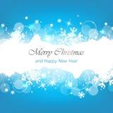 Feliz Natal e fundo do azul do ano novo feliz Imagens de Stock