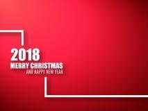 Feliz Natal e fundo do vermelho do ano novo feliz fundo 2018 Fotografia de Stock Royalty Free