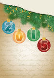 Feliz Natal e fundo novo feliz de 2015 anos Fotografia de Stock