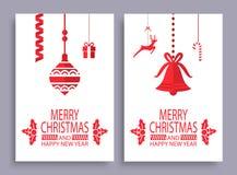 Feliz Natal e grupo do ano novo feliz de bandeiras ilustração royalty free