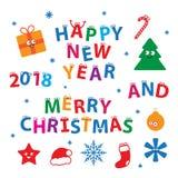 Feliz Natal e grupo do vetor do ano novo feliz Fotografia de Stock