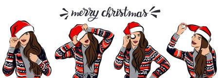 Feliz Natal e imagem da menina do ano novo feliz imagem de stock