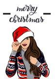 Feliz Natal e imagem da menina do ano novo feliz foto de stock royalty free