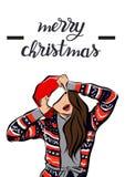 Feliz Natal e imagem da menina do ano novo feliz imagens de stock