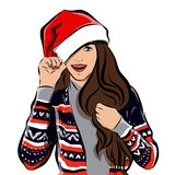 Feliz Natal e imagem da menina do ano novo feliz fotografia de stock royalty free