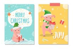 Feliz Natal e Joy Postcards Piglets New Year ilustração do vetor