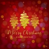 Feliz Natal e rotulação do ano novo feliz Bandeira do XMAS decorada com a árvore de Natal handdrawn do brilho do ouro em um verme ilustração stock