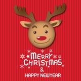 Feliz Natal e Rudolph Imagem de Stock Royalty Free