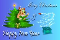 Feliz Natal e um ano novo feliz! vetor 2018 e ilustração fotos de stock royalty free