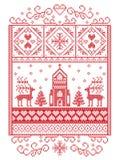 Feliz Natal elegante escandinavo, teste padrão nórdico do inverno do estilo que inclui o floco de neve, coração, rena, árvore de  Imagens de Stock Royalty Free