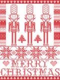 Feliz Natal elegante escandinavo, teste padrão nórdico do inverno do estilo que inclui o floco de neve, coração, soldado da quebr Imagens de Stock