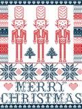Feliz Natal elegante escandinavo, teste padrão nórdico do inverno do estilo que inclui o floco de neve, coração, soldado da quebr Fotos de Stock