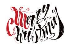 Feliz Natal escrito à mão bonito do texto Ilustração do vetor isolada em fundo textured para cartões, etiquetas, ilustração stock