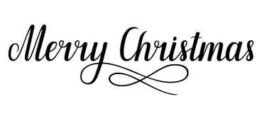 Feliz Natal escrito à mão da rotulação, ilustração do vetor Fotos de Stock Royalty Free