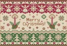 Feliz Natal! Estilo feito malha Imagem de Stock