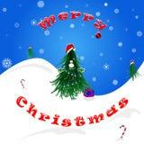 Feliz Natal Felicitações da árvore de Natal Ilustração Stock