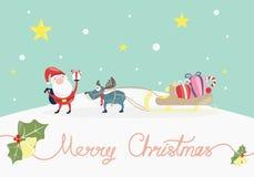 Feliz Natal, feriado do Xmas com Papai Noel para dar um presente imagem de stock royalty free