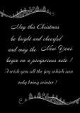 Feliz Natal festivo dos cumprimentos em um fundo preto com ornamento do inverno ilustração do vetor