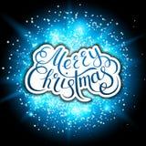 Feliz Natal Flocos de neve e efeito dos fogos-de-artifício Letras escritas à mão ilustração do vetor