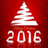 Feliz Natal Fundo com flocos de neve Um greeti novo de 2016 anos Imagens de Stock Royalty Free