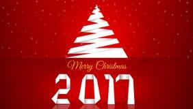 Feliz Natal Fundo com flocos de neve Um greeti novo de 2017 anos ilustração do vetor