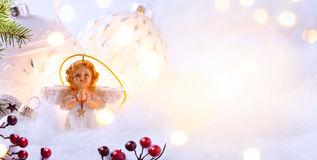 Feliz Natal; Fundo dos feriados com o ornamento da árvore do Xmas Foto de Stock Royalty Free