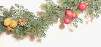 Feliz Natal Garland With Nature Ornaments Decoration imagens de stock