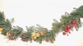 Feliz Natal Garland With Nature Ornaments Decoration fotografia de stock