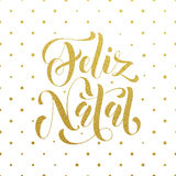 Feliz Natal gold glitter greeting. Portuguese Christmas Stock Photos