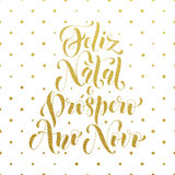 Feliz Natal gold glitter greeting. Portuguese Christmas Royalty Free Stock Images