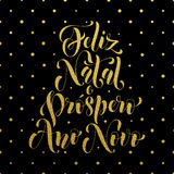 Feliz Natal gold glitter greeting. Portuguese Christmas Stock Photography
