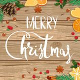 Feliz Natal Ilustração no fundo de madeira ilustração royalty free