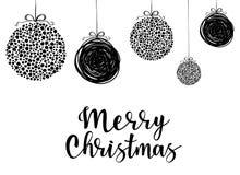 Feliz Natal - inscrição da rotulação ao projeto do feriado de inverno ilustração do vetor