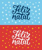 Feliz Natal lettering. Merry Christmas greetings. Feliz Natal portuguese Merry Christmas calligraphy text on retro style flat greeting cards set. Lettering for Stock Photo