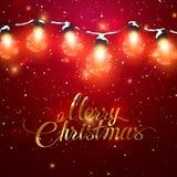 Feliz Natal Luzes de Natal com neve ilustração stock