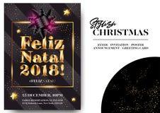 Feliz Natal 2018! Merry Christmas in Portuguese. Stylish Black Greeting Card Design. Vector Elegant Invitation Template. Xmas Celebration. Dark Background with Royalty Free Stock Photo