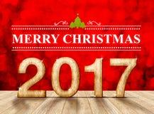 Feliz Natal 2017 na textura de madeira na sala da perspectiva com sp Fotografia de Stock